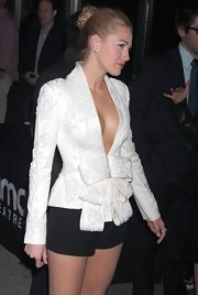 Blake took the plunge with a daring white blazer and she completed her look with a messy twisted bun. Her hairstyle was the perfect mix of chic and sweet.