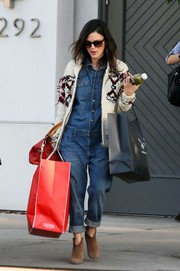 Rachel Bilson looked ready for Christmas wearing this winter-y cardigan and carrying bags of goodies while out and about in Beverly Hills.