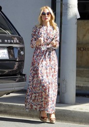 Rachel Zoe looked like a prairie girl in this printed maxi dress by Dôen while out in West Hollywood.