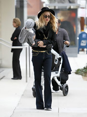 Rachel Zoe looked fashionable as ever in a pair of '70s style flares.