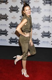 Chantel opted for misty gray sandal with and ivory and gold heel. The heels complemented her safari-style ensemble.