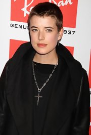Socialite Agyness Deyn showed off her buzzcut while hitting the Ray-Ban Aviator party in New York City.