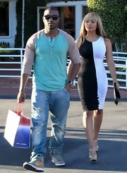 Ray J chose this baseball henley in fun pastel colors for his cool spring-appropriate shopping look.