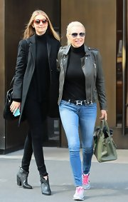 Yolanda Foster showed off her youthful, edgy side with this classic leather jacket.