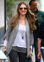Actress Rebecca Gayheart wore a Zannie Wrap in heather grey while out to lunch with friends.