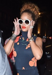 Rihanna looked funky in her Kate Spade round sunnies while enjoying a night out.
