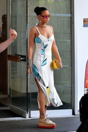 Rihanna looked totally ready for summer in her Adam Selman printed sundress while visiting a dentist's office.