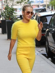 Rita Ora accessorized with a pair of classic aviators while out in New York City.