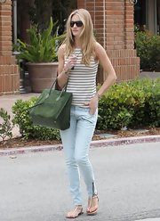 Rosie went for an outing in Malibu wearing these skinny zippered pants and a nautical striped top.