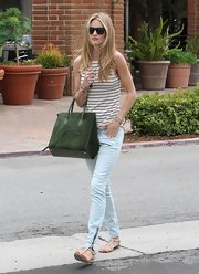 Rose Huntington-Whiteley went out to dinner in Malibu looking comfy and casual wearing strappy flat sandals.