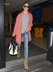 Rosie Huntington-Whiteley arrived at LAX looking stylish in a pink Isabel Marant chevron wool coat.