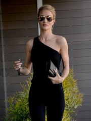 Rosie Huntington-Whiteley looked fierce in her mirrored gold aviators while out in WeHo.