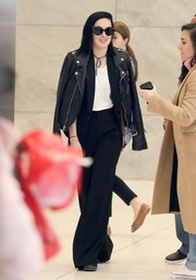 Rumer Willis teamed black wide-leg pants with a leather jacket for a visit to the SiriusXM studios.