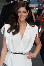 Ashley Greene attended Ferragamo's collection launch with elegant waves and a deep side part.