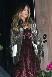Sarah Jessica Parker went all out with the shimmer with this metallic coat and dress combo while out in New York City.