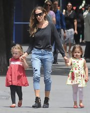 Sarah Jessica Parker rocked a dark charcoal gray long-sleeve tee while out with her daughters in NYC.