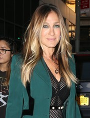 Sarah Jessica Parker headed out in New York City sporting her signature center-parted style.