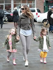 SJP walked her daughters in this cute cropped leather jacket with an asymmetrical zip.