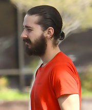 Shia LaBeouf slicked his hair back into a tiny ponytail while out running errands.
