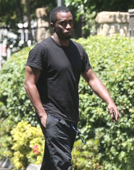 Sean Combs was low-key in an all-black tee and pants combo while out and about in Toluca Lake.