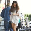 Selena Gomez's Long Tee and Ankle Boots