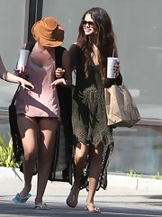 Selena Gomez opted for a bohemian chic look with this crocheted fishtail dress.