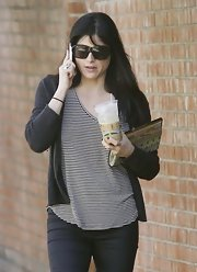 Selma Blair loves stripes! For a coffee run, she chose a black-and-white tank.