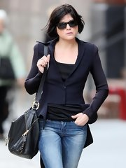 Selma Blair showed off her chic style while out and about in NYC. She toted around a cool leather hobo bag that caught our eye.