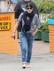 Selma wore these distressed denim jeans while out in Hollywood.