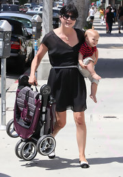 Selma Blair proved the versatility of the LBD in this chiffon dress for her stroll with her baby.