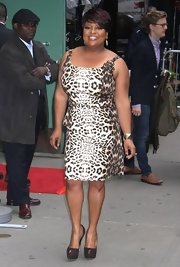 Sherri Shepherd chose this cheetah-print dress to flaunt her curves on 'Good Morning America.'