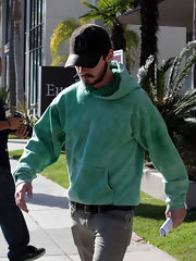 Shia LaBeouf was a bright burst of color in his mint-colored hoodie.