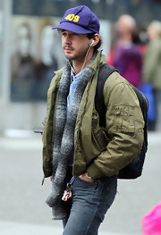 Shia LaBeouf accessorized with a patterned knit scarf for added warmth while strolling in Vancouver.