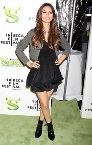 Victoria Justice wore a cropped gray jacket over her LBD when she went to the 'Shrek Forever After' premiere.