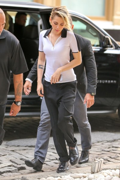 Kristen Stewart kept it casual in a monochrome Rag & Bone polo shirt while out in New York City.