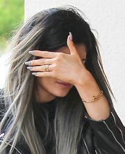 Kylie Jenner stepped out in Calabasas wearing a solid gray mani.