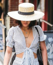 Vanessa Hudgens tried to go incognito with a cute straw hat while strolling in New York City.