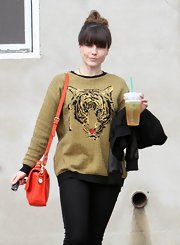 Sophia Bush let her quirky side show while out in Hollywood with this gold tiger sweater.