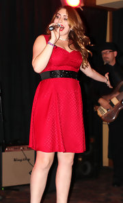 Sophie Simmons performed at the River Rock Casino wearing a pretty knee-length dress.