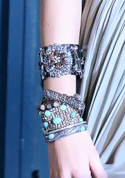 Blake added major bling to her look with an arm full of decadent bangle bracelets.