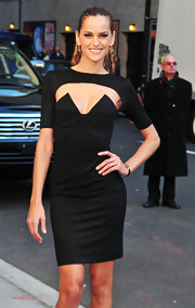Izabel Goulart stepped out for an appearance in New York City wearing a sexy black cutout dress.