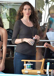 Saffron Burrows made a simple gray Henley look so sexy.