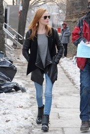 Kate Bosworth was edgy on the set of 'Still Alice' in a black leather and shearling jacket by Yigal Azrouel.