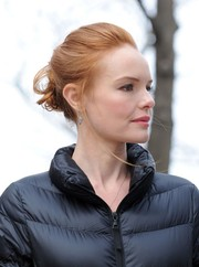 Kate Bosworth was elegantly coiffed with a twisted bun while filming 'Still Alice.'