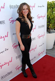 Karina Smirnoff toughened her black jumpsuit with matching leather platform mid-calf boots.