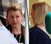 "Lo wore her hair up and sported a pair of gold ""Infinity Pod Hoops"". The textured style was stylish and sophisticated."