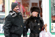 Actor Steve Harvey and his wife Marjorie Bridges out shopping on a rainy day at Joan Boyce Jewelry in Aspen, CO.