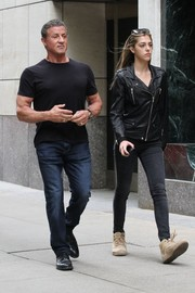 Sistine Stallone matched her jacket with a pair of skinny jeans.