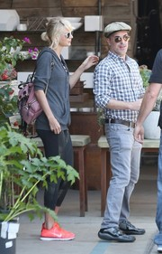Taylor Swift stepped out in LA carrying a cute mauve backpack by Burberry.