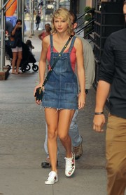Taylor Swift was casual and cute in a frayed denim overall dress by Tularosa while out and about in New York City.